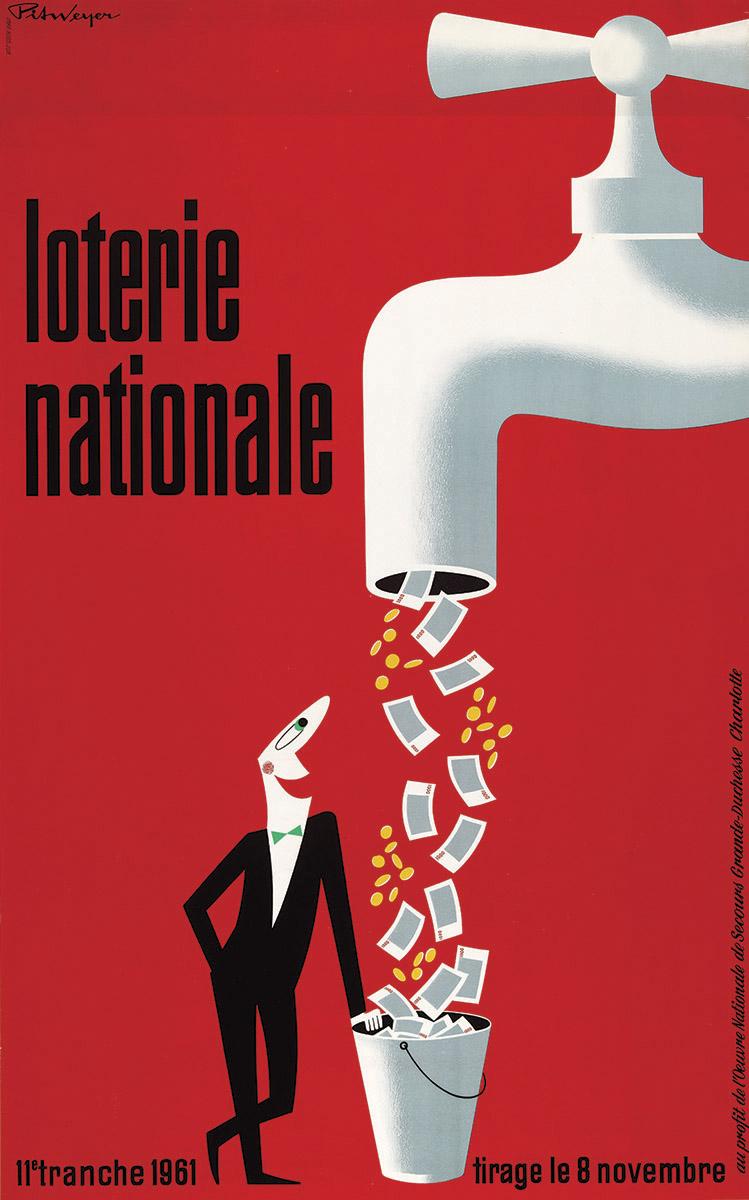 Affiche pour la Loterie Nationale de Luxembourg 1961 Pit Weyer