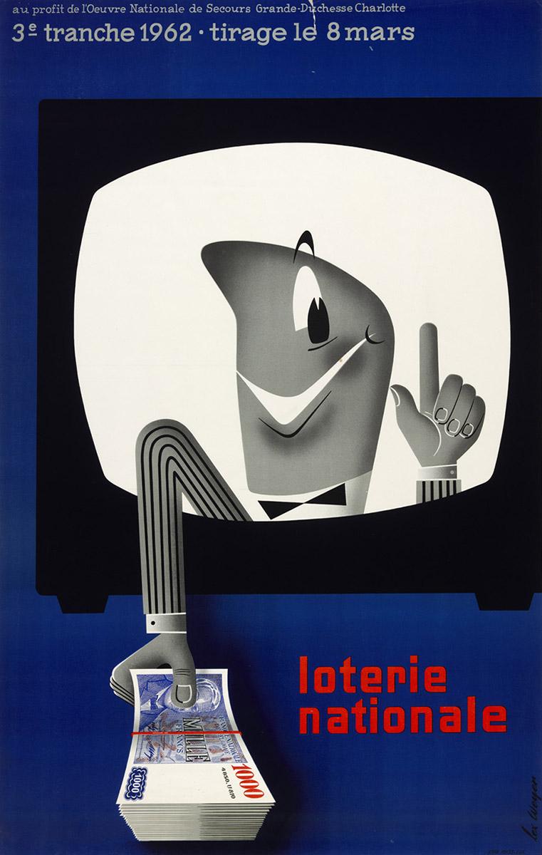 Affiche pour la Loterie Nationale de Luxembourg 1962 Lex Weyer