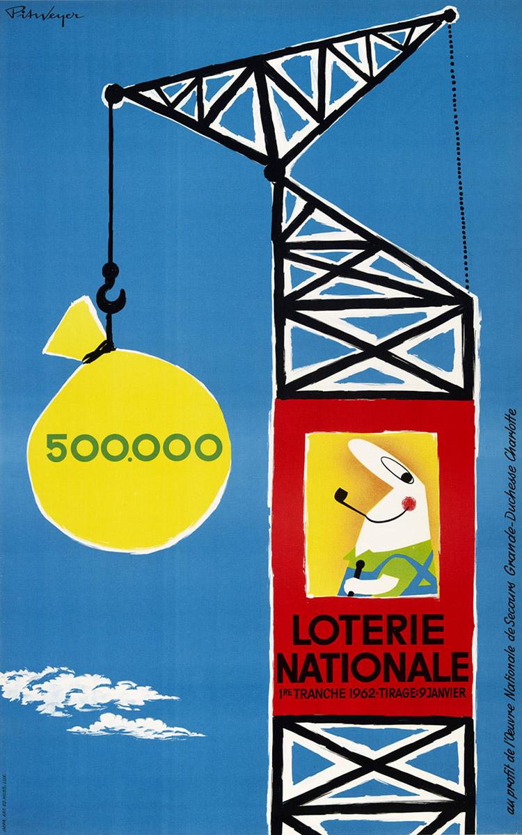 Affiche pour la Loterie Nationale de Luxembourg 1962 Pit Weyer