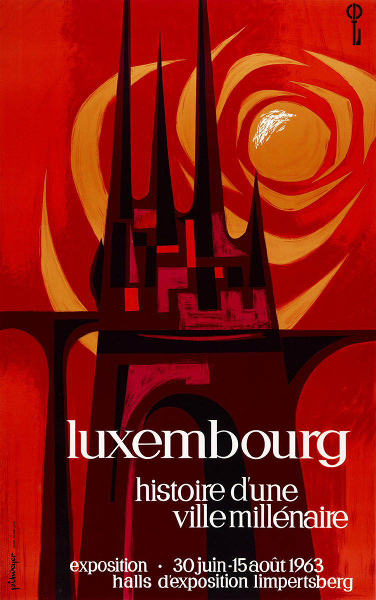 Affiche pour le millénaire de la Ville de Luxembourg 1963 graphiste Pit Weyer