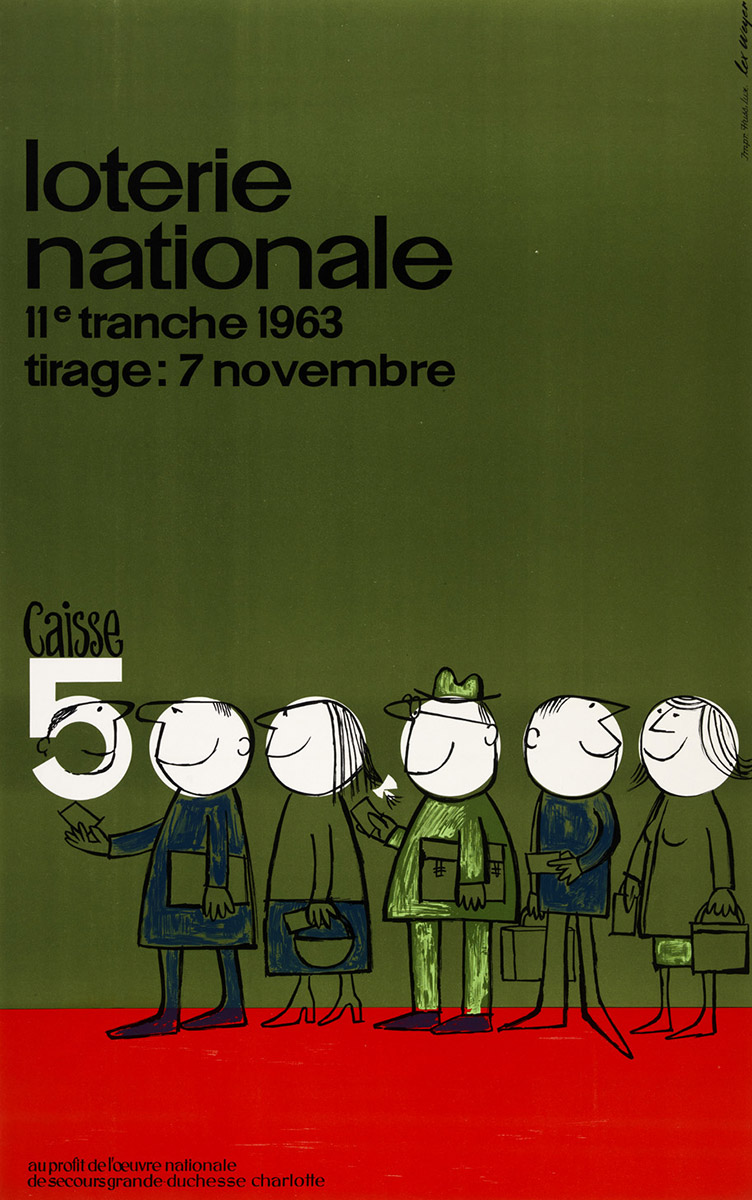 Affiche Loterie Nationale de Luxembourg 1963 Pit Weyer