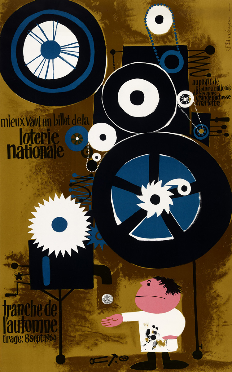 Affiche Loterie Nationale de Luxembourg 1964 graphiste Pit Weyer
