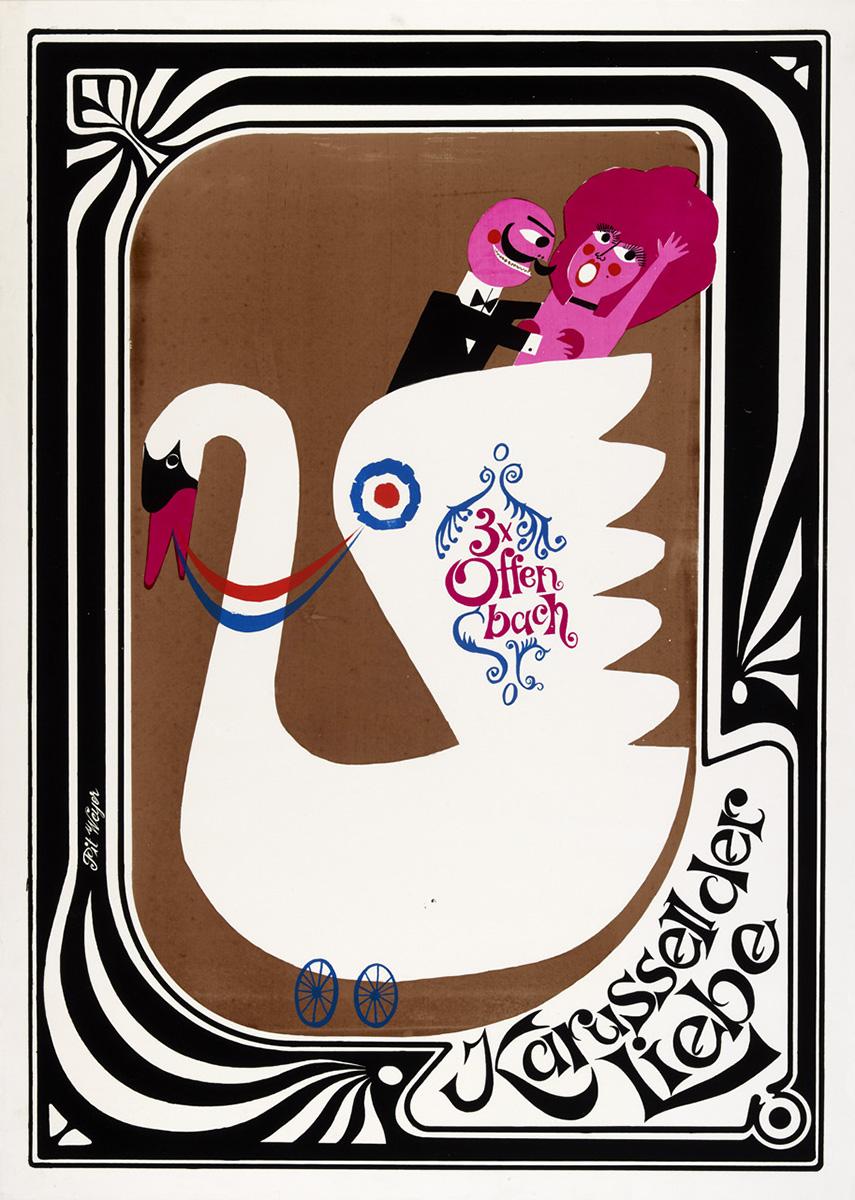 Plakat Affiche Poster 3 x Offenbach Pit Weyer 1964