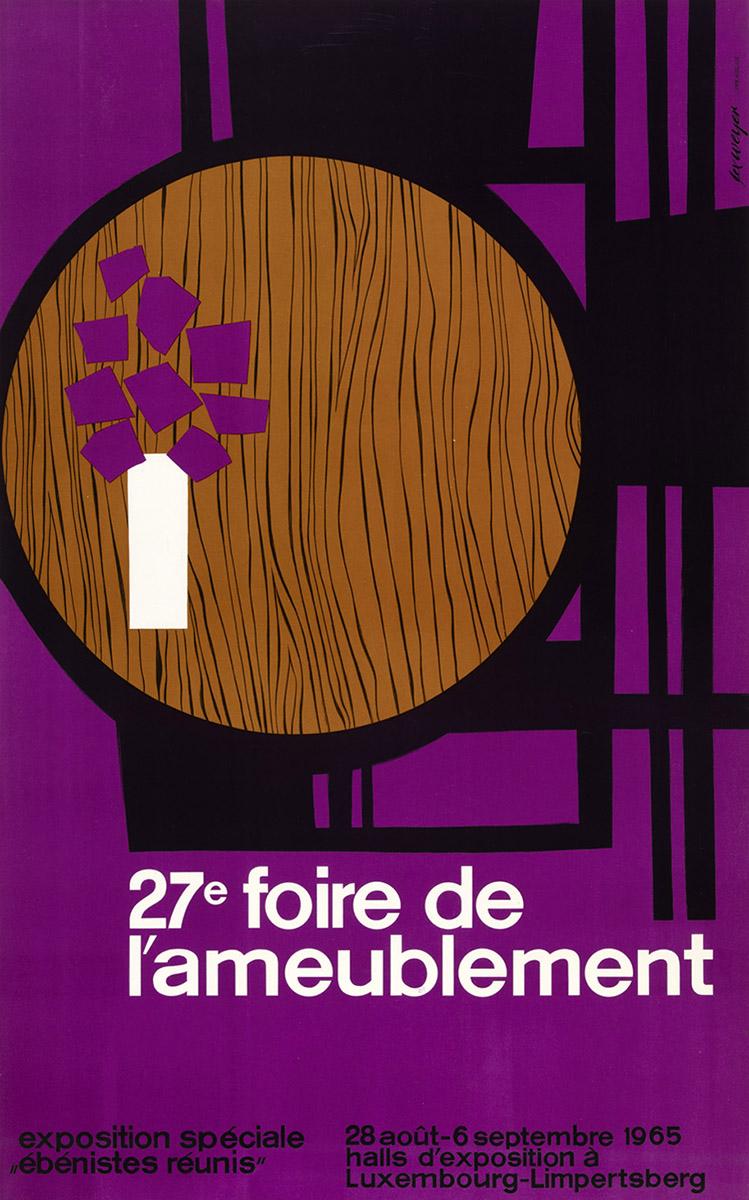 Affiche 27e Foire d'ameublement exposition ébénistes réunis 1965 Lex Weyer