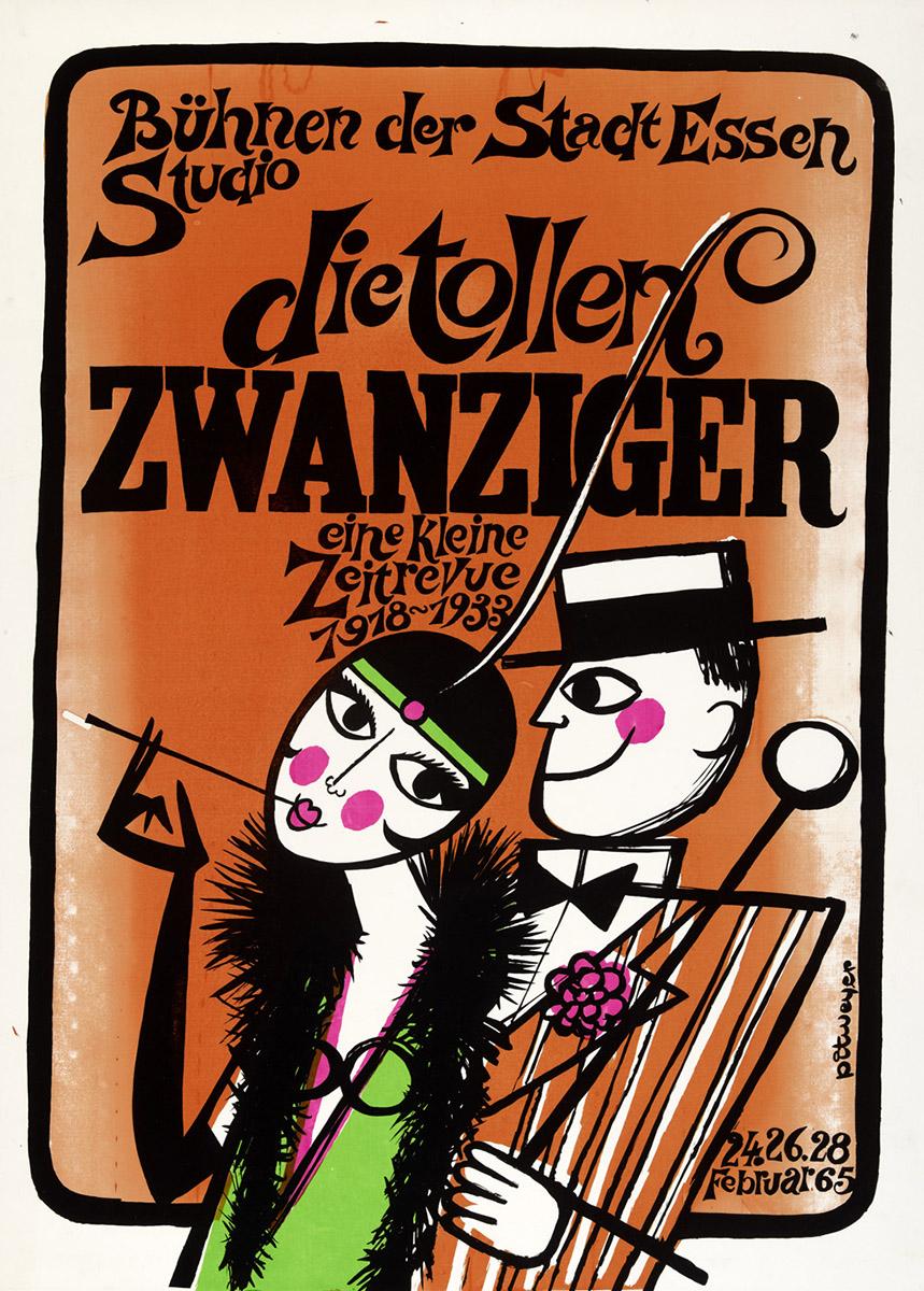 Affiche Plakat Poster Die tollen Zwanziger 1965 die Bühnen der Stadt Essen Pit Weyer