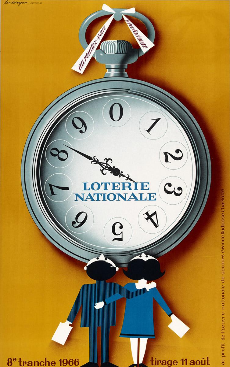 Affiche pour la Loterie Nationale de Luxembourg 1966 graphiste Lex Weyer senior