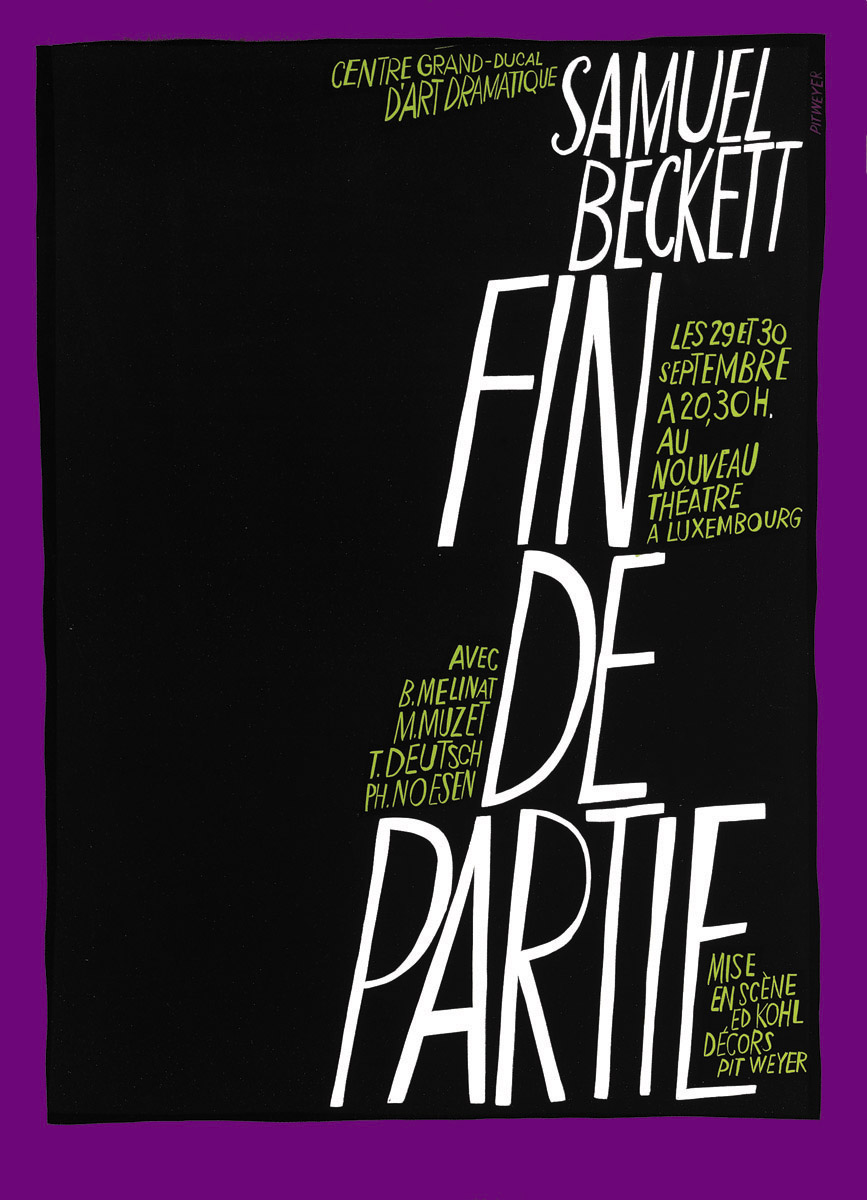 Affiche Kasemattentheater 1967 Fin de Partie Samuel Beckett graphiste Pit Weyer