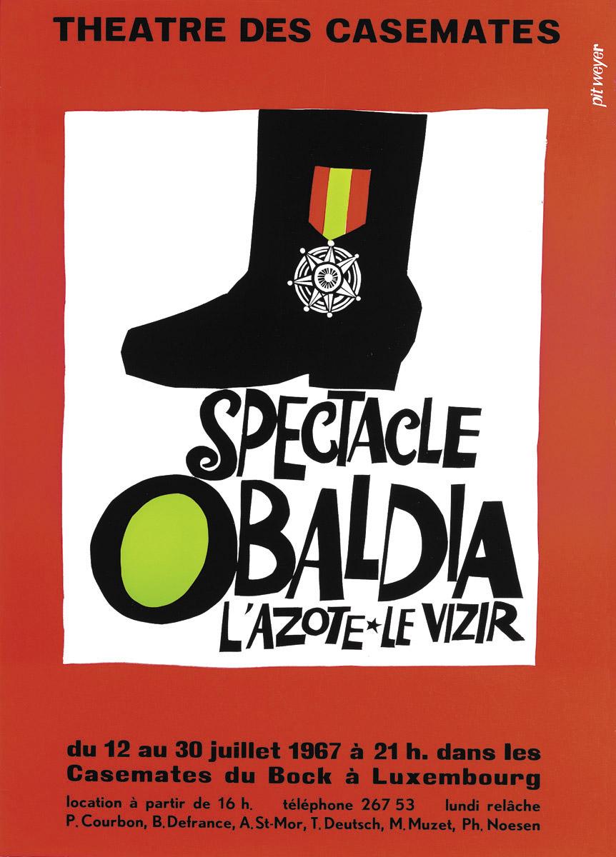 Affiche Kasemattentheater 1967 Spectacle Obaldia - graphiste Pit Weyer