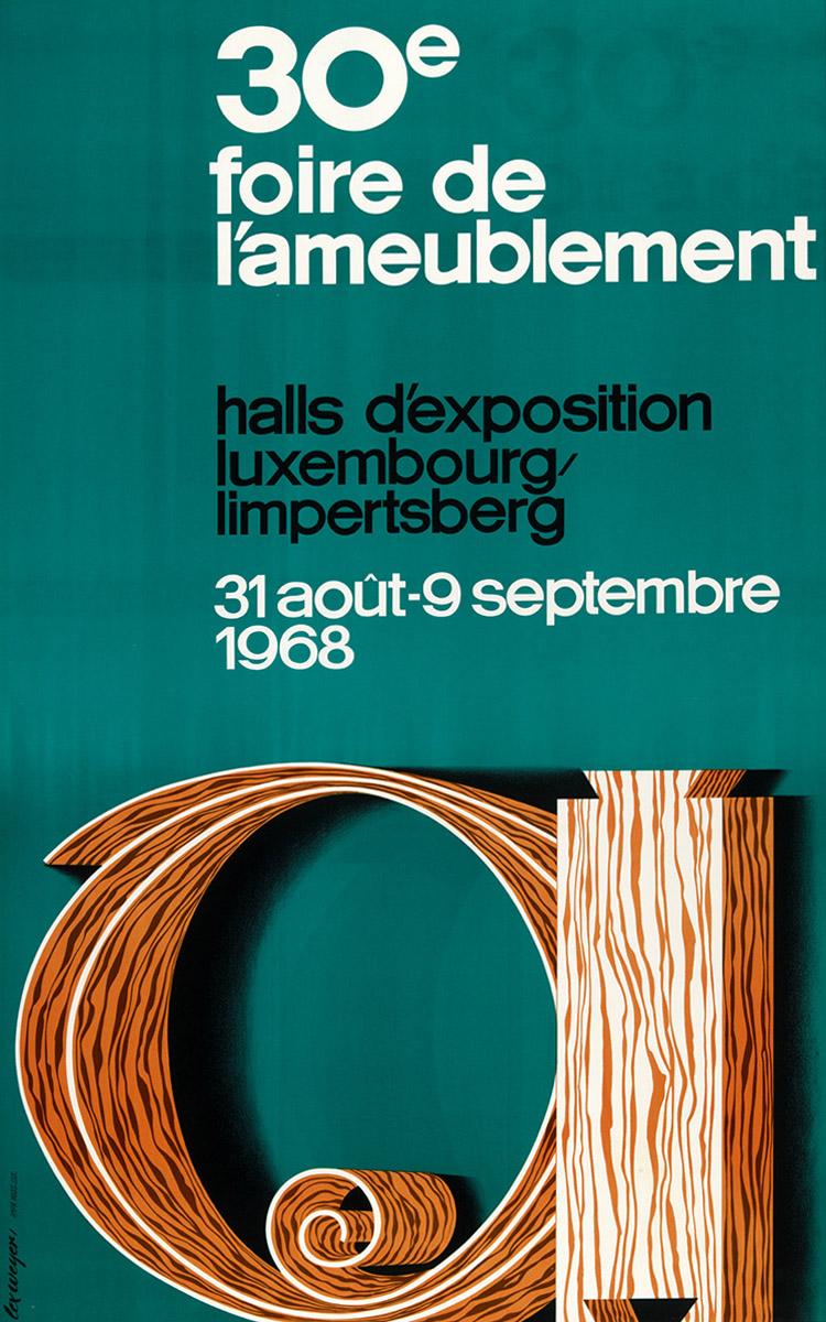 Affiche Foire d'ameublement Luxembourg 1968 Lex Weyer senior