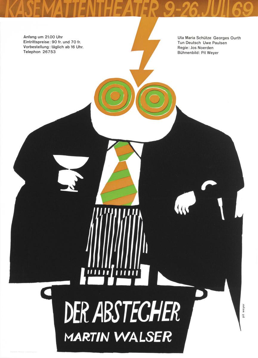 Affiche Kasemattentheater 1969 Martin Walser der Abstecher - Pit Weyer