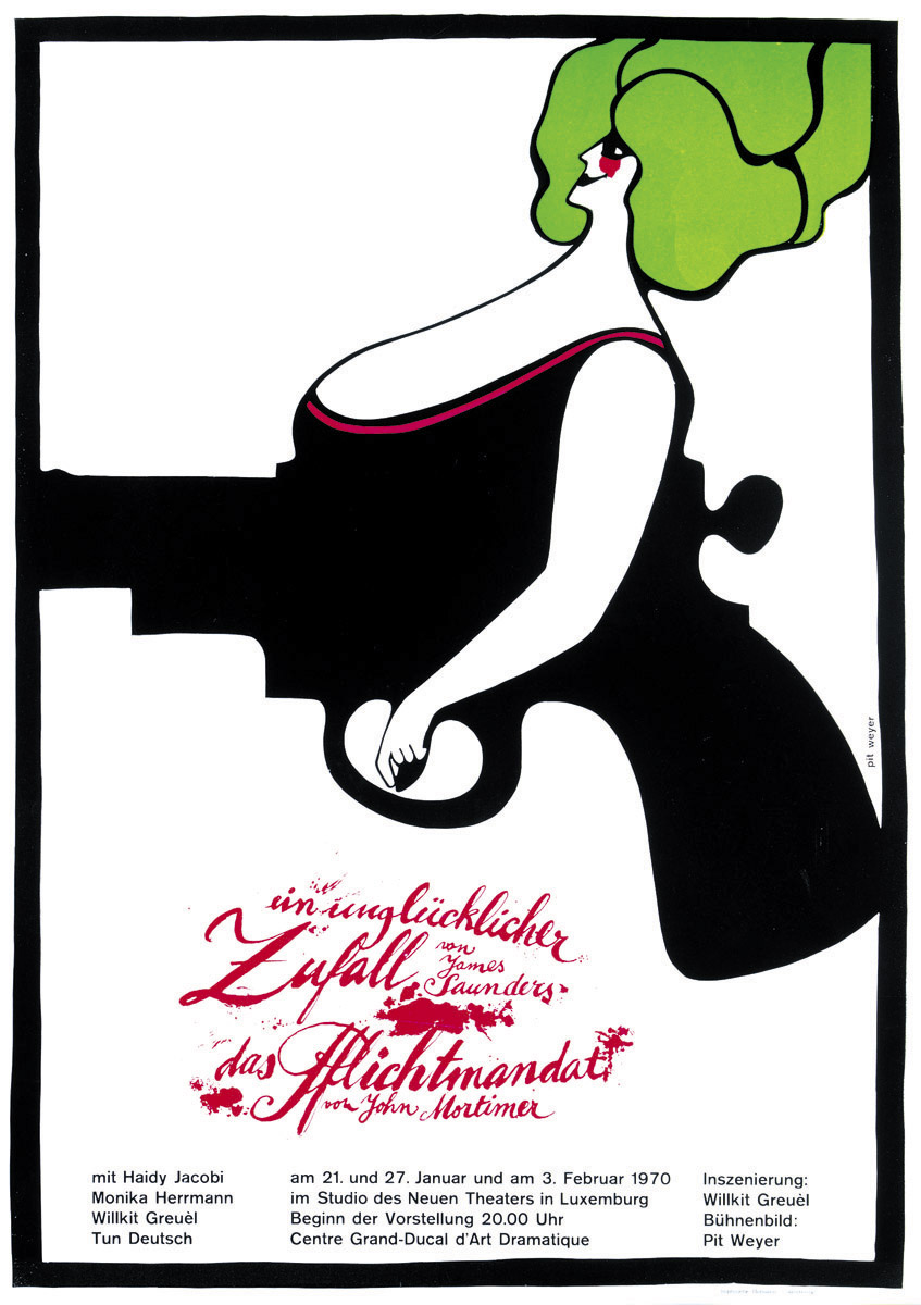 Affiche Kasemattentheater 1970 Ein unglücklicher Zufall von James Saunders - Pit Weyer