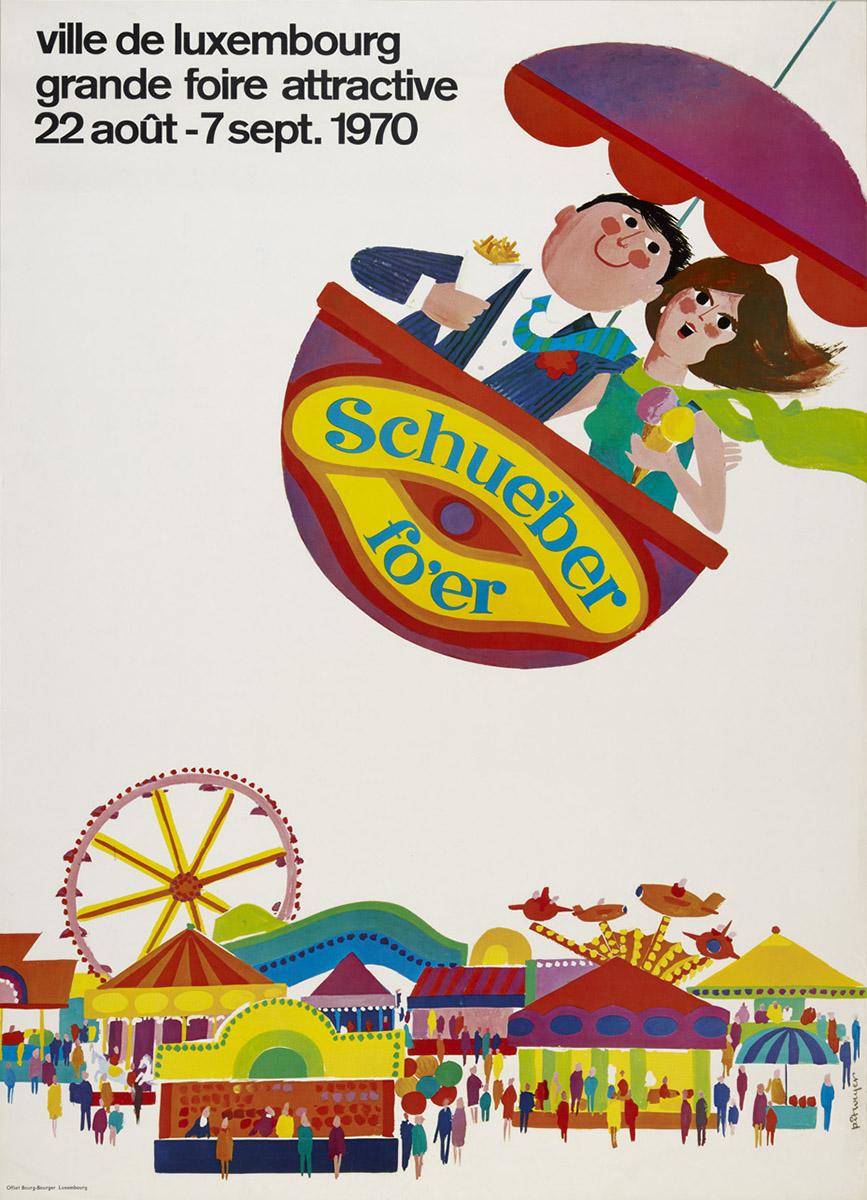 Affiche Schueberfouer 1970 - Ville de Luxembourg - graphiste Pit Weyer