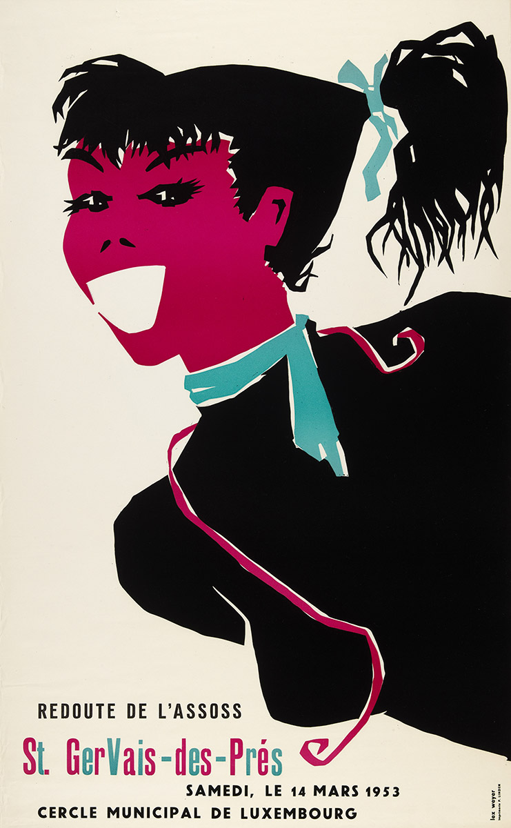 Affiche Assoss Bal 1953 graphiste Lex Weyer senior