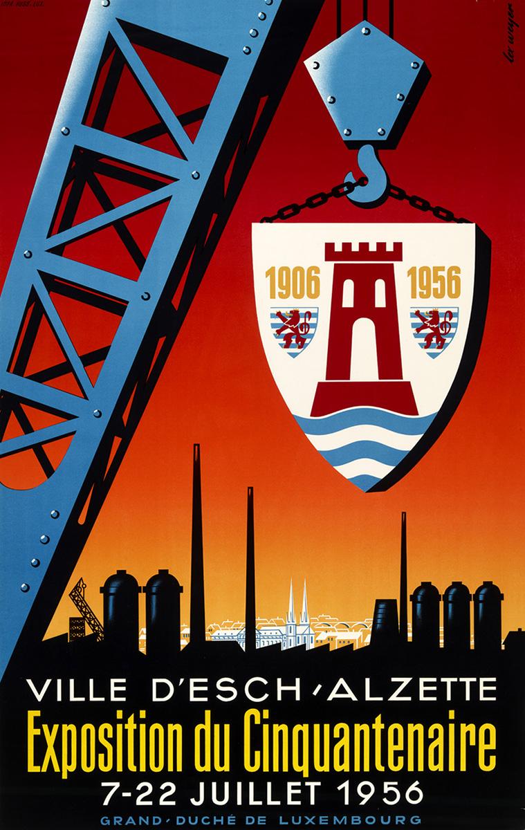 Affiche Exposition Cinquentenaire Ville de Esch-sur-Alzette 1956 Lex Weyer senior
