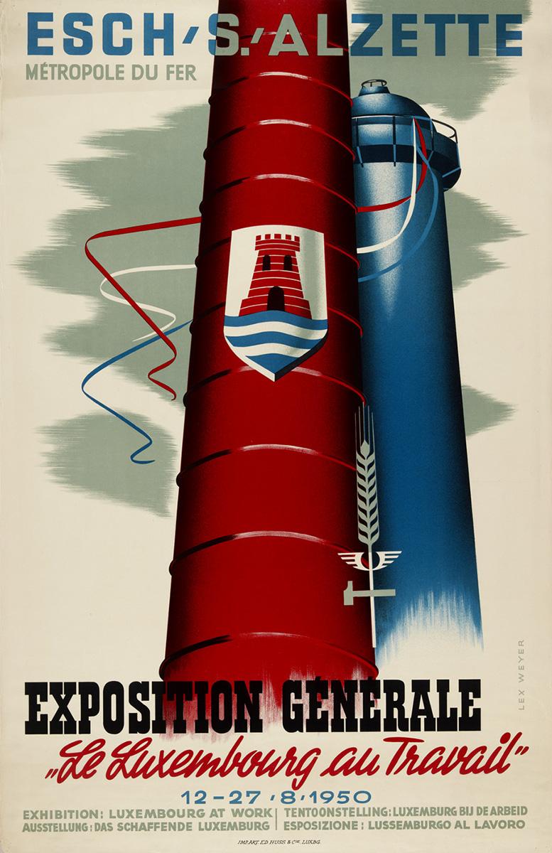 """Affiche Exposition générale """"Le Luxembourg au travail"""" Esch-sur-Alzette 1950 graphiste Lex Weyer senior"""