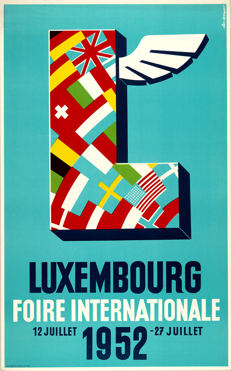 Affiche Foire Internationale de Luxembourg 1952 graphiste Lex Weyer