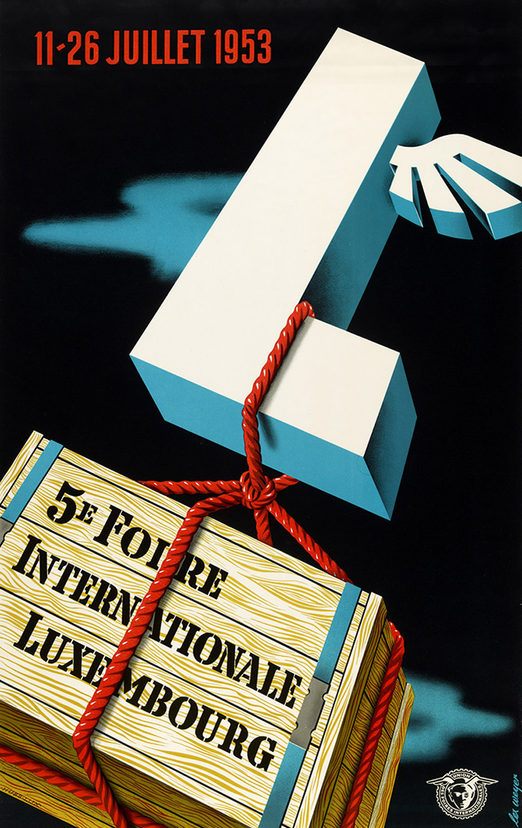 Affiche FIL Foire Internationale Luxembourg 1953 Lex Weyer