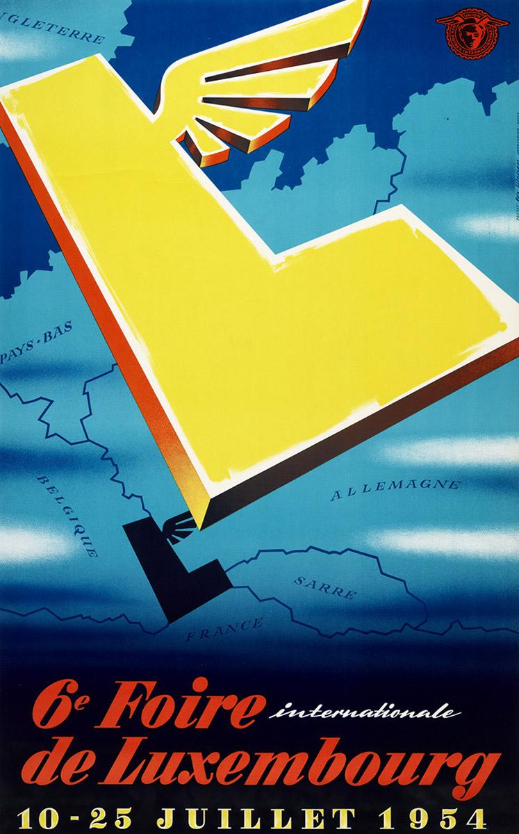 Affiche Foire Internationale Luxembourg FIL 1954 graphiste Lex Weyer