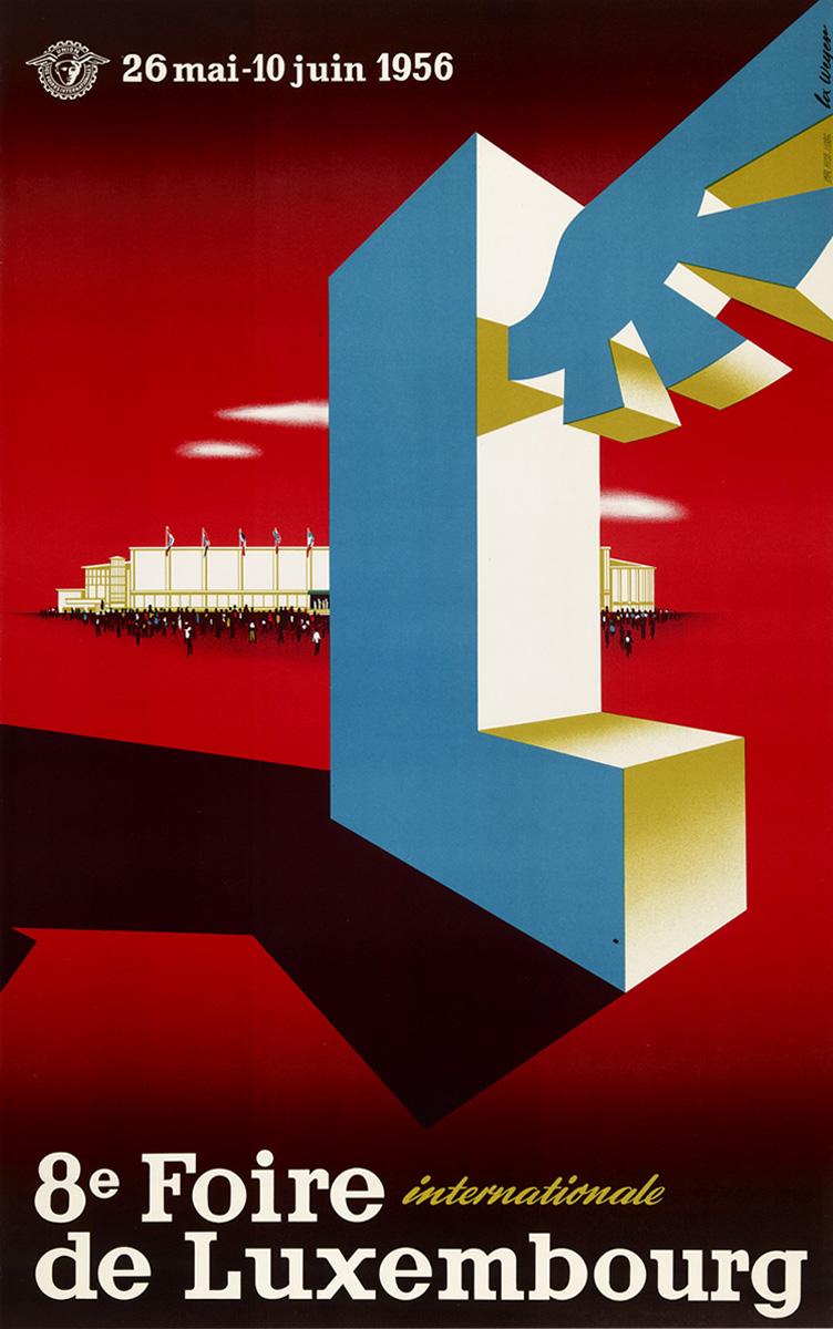 Affiche Foire Internationale Luxembourg 1956 Lex Weyer senior
