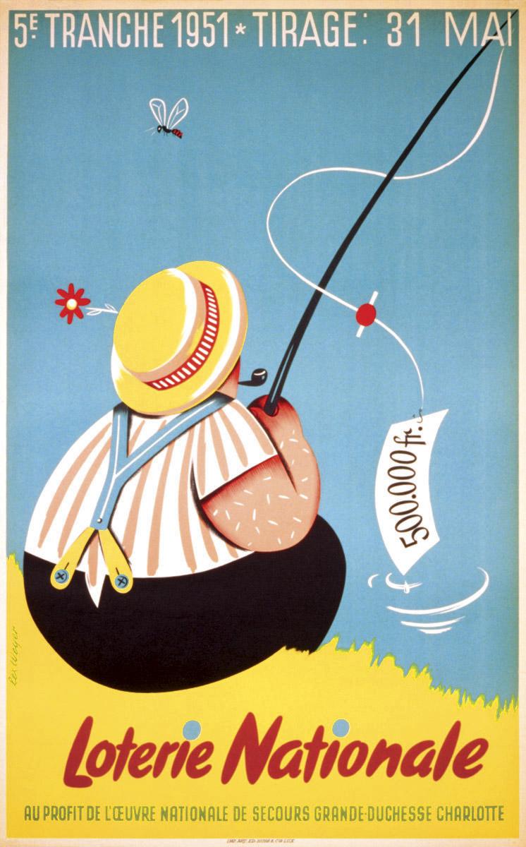 Affiche pour la Loterie Nationale de Luxembourg 1951 graphiste: Lex Weyer senior - imprimerie Huss