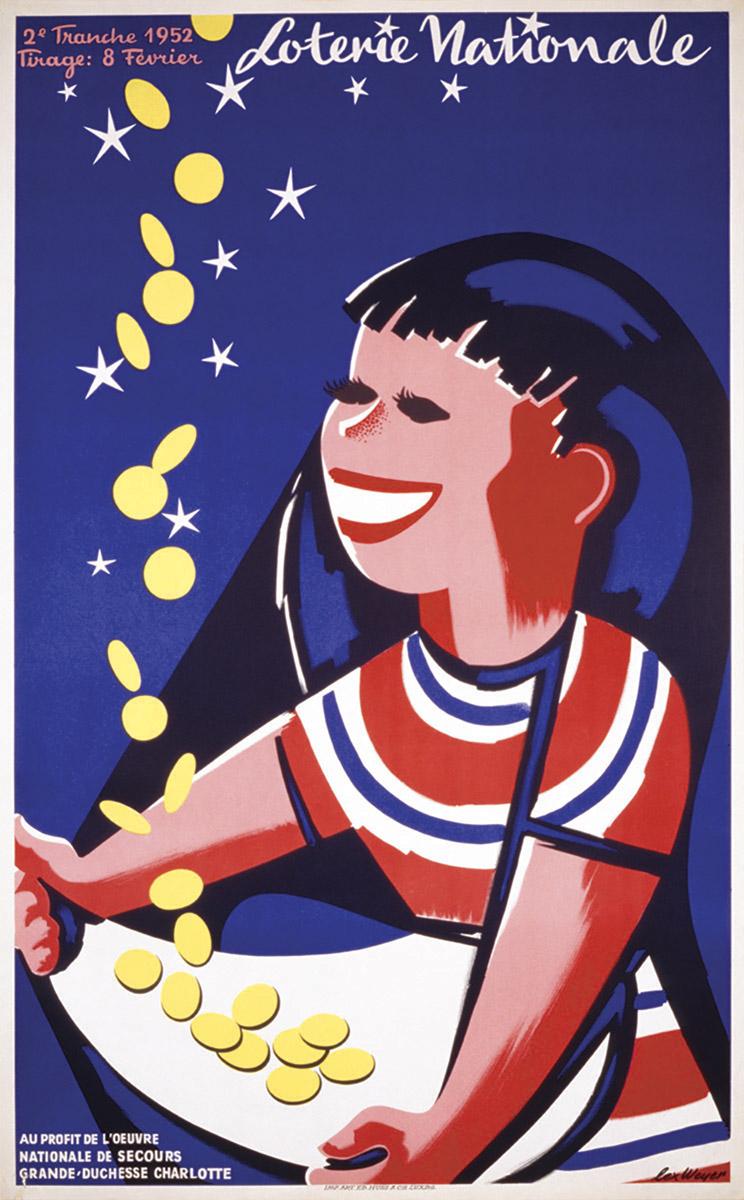Affiche pour la Loterie Nationale de Luxembourg 1952 graphiste Lex Weyer senior - imprimerie Huss