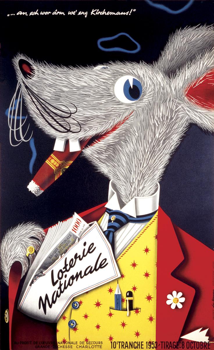 Affiche pour la Loterie Nationale de Luxembourg - graphiste Lex Weyer senior - imprimerie Huss Luxembourg
