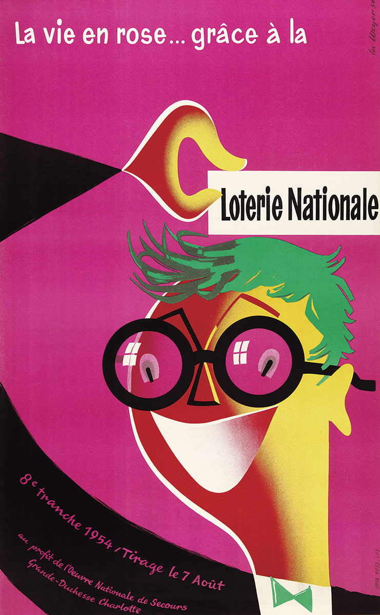 Affiche Loterie Nationale 1952 Lex Weyer senior - imprimerie Huss