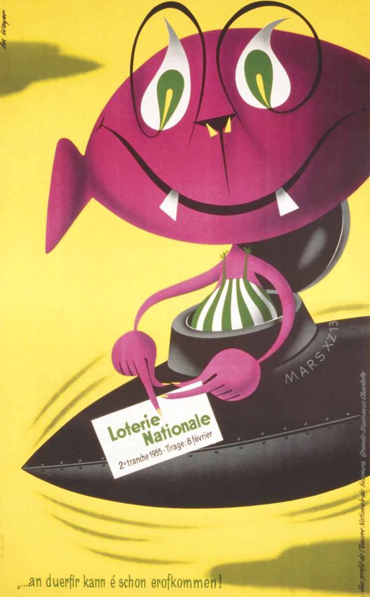 Affiche Loterie Nationale de Luxembourg graphiste Lex Weyer senior - imprimerie Huss