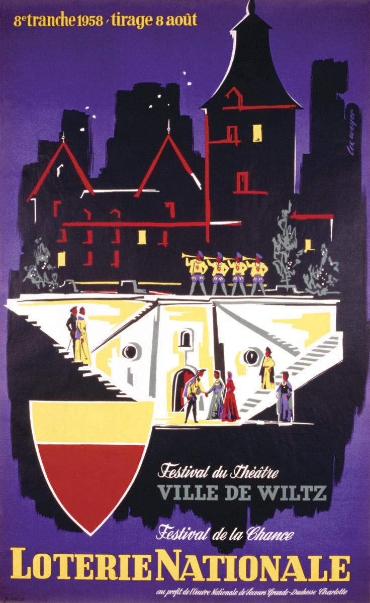 Affiche Loterie Nationale de Luxembourg 1958 graphiste Lex Weyer -thème: Festival de Wiltz