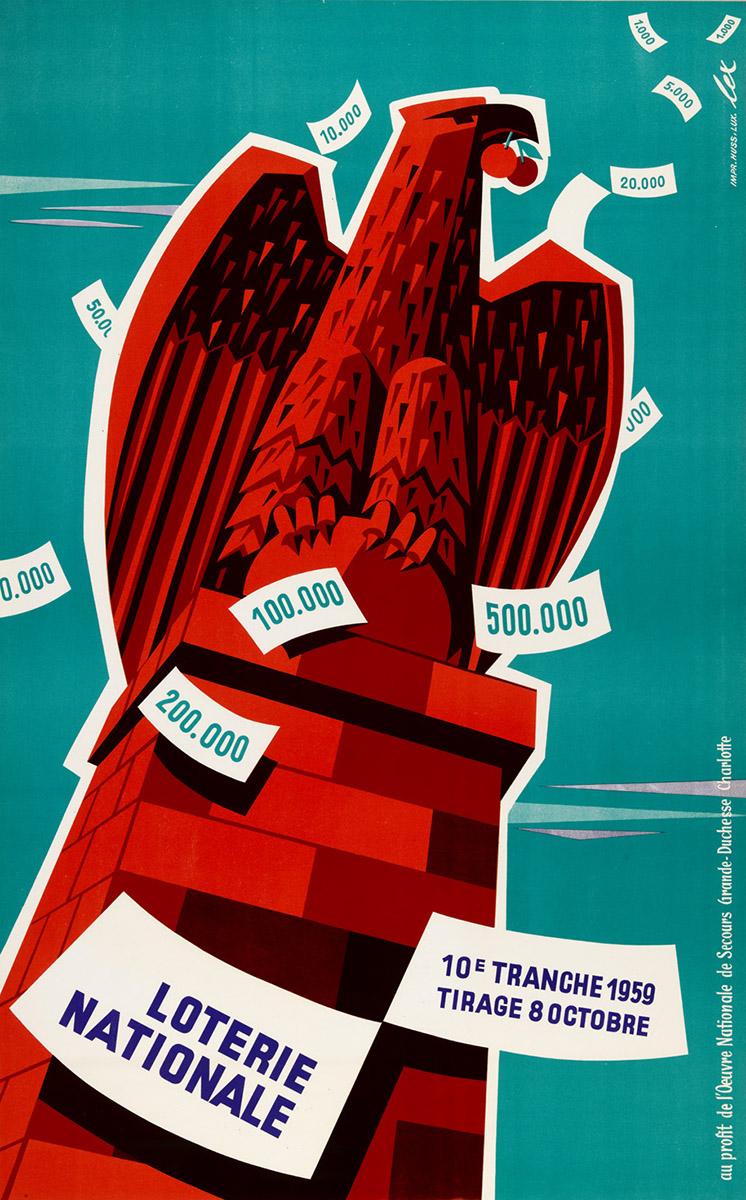 Affiche pour la Loterie Nationale de Luxembourg 1959 Lex Weyer senior
