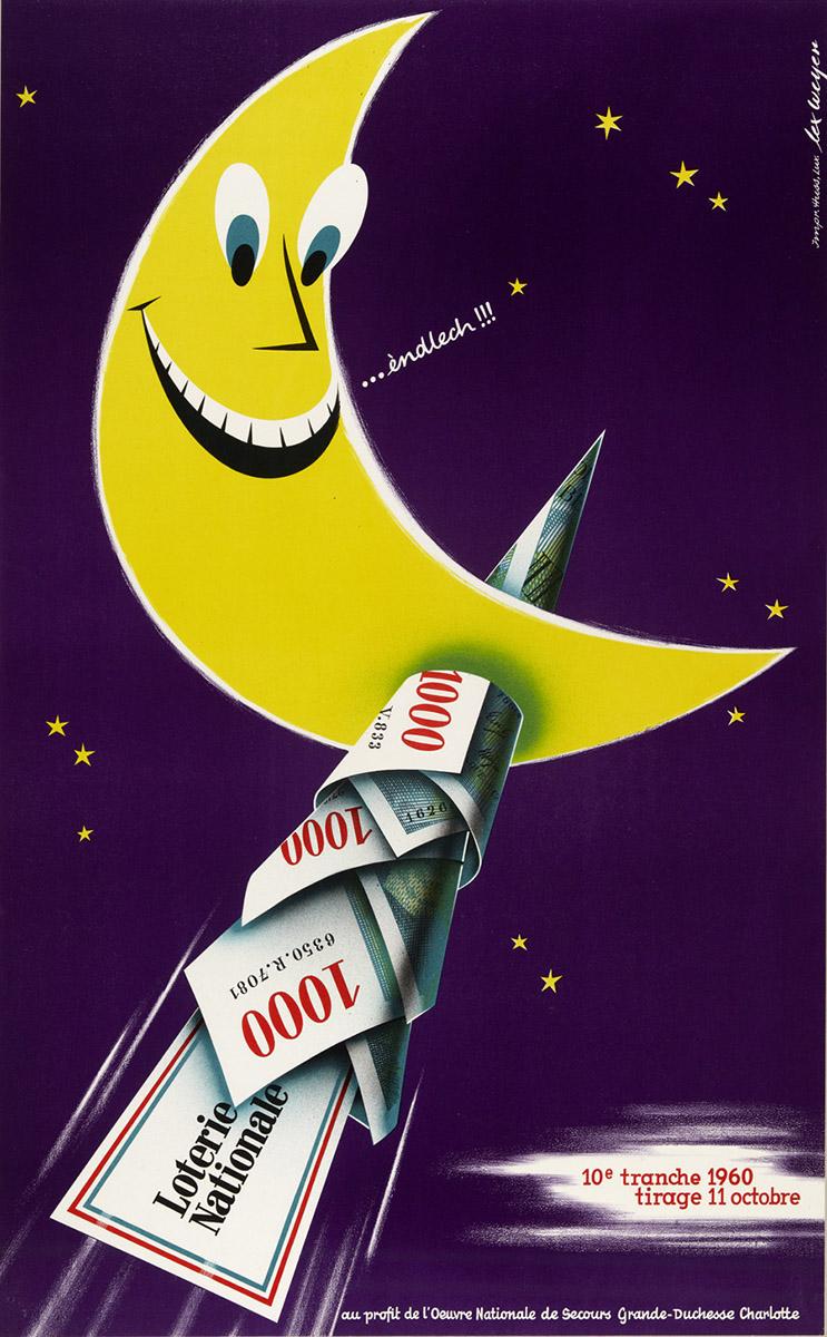 Affiche pour la Loterie Nationale Luxembourg 1960 graphiste: Lex Weyer senior
