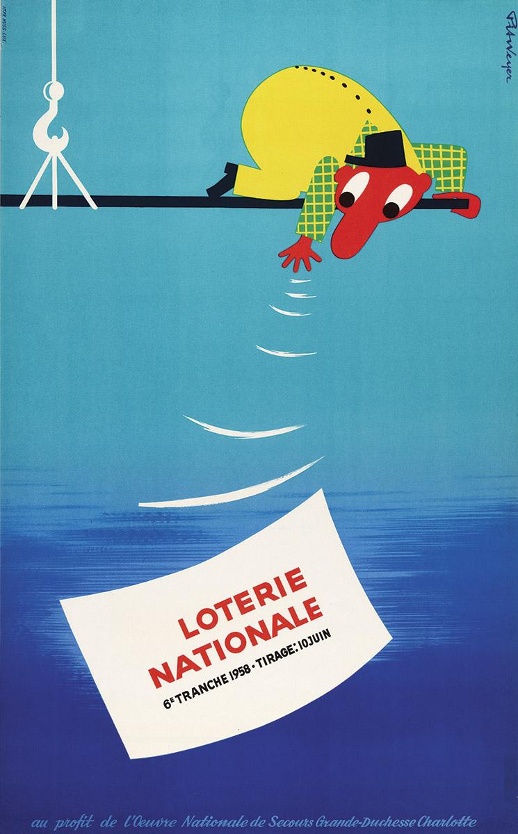 Affiche pour la Loterie Nationale de Luxembourg 1958 graphiste Pit Weyer