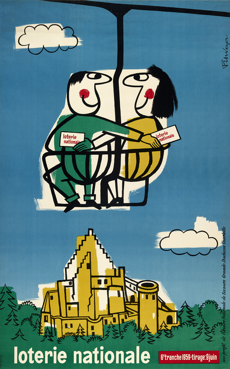 Affiche Loterie Nationale Luxembourg 1959 Pit Weyer