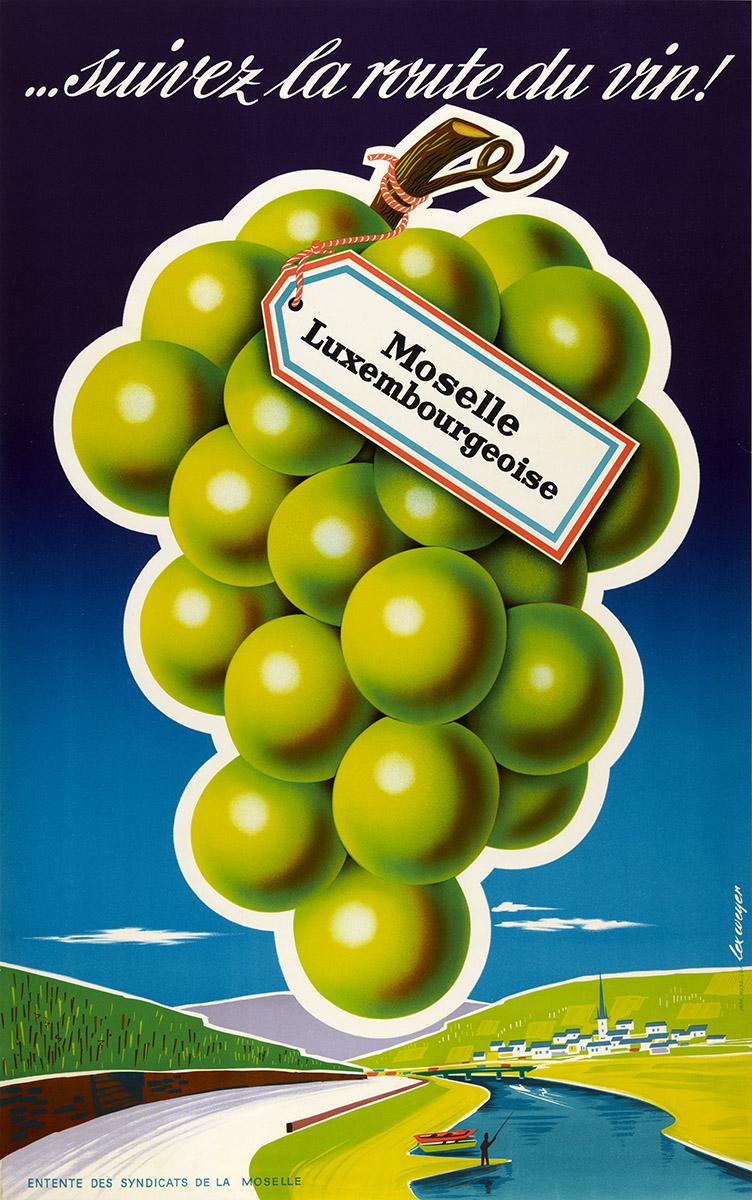 Affiche pour l'Entente des Syndicats de la Moselle 1958 - suivez la route du vin! - graphiste Lex Weyer senior