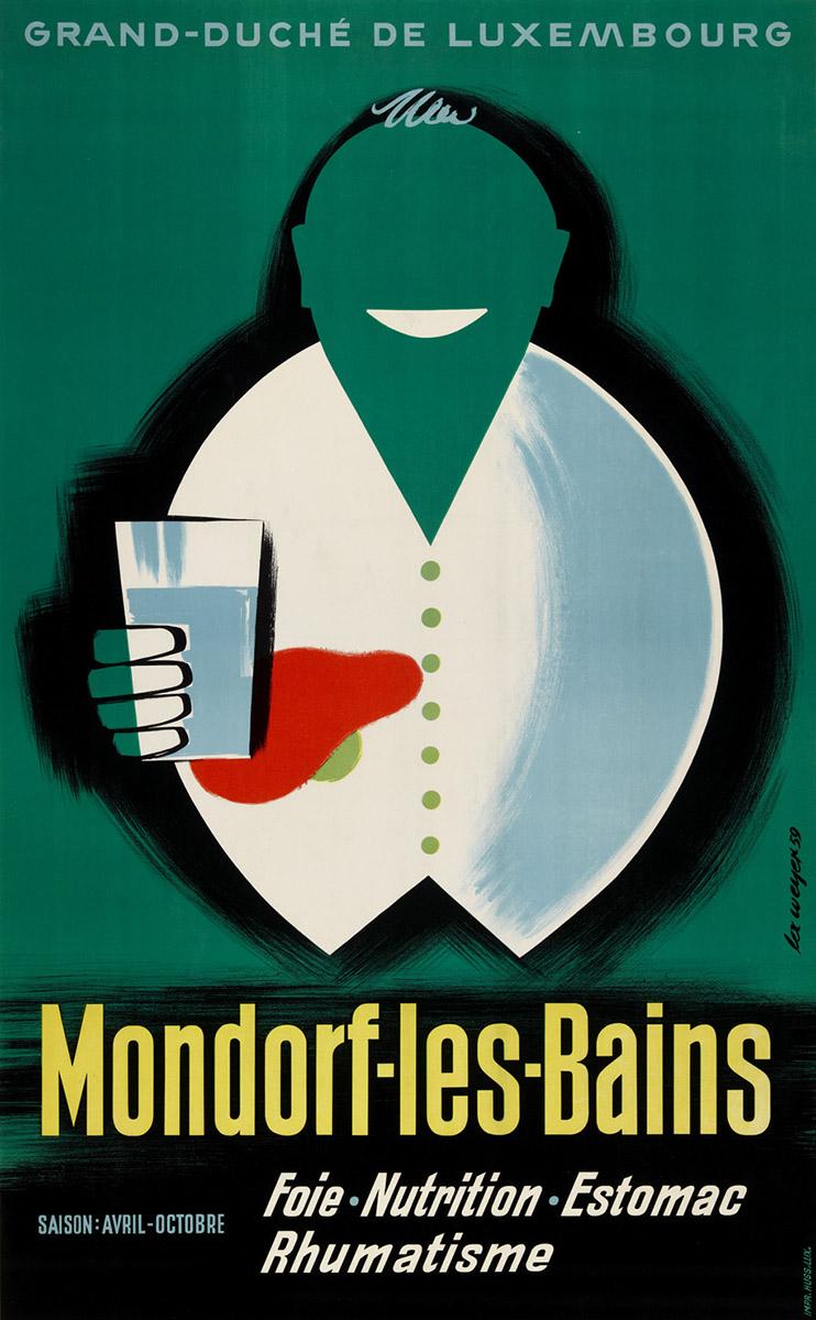 Affiche de 1959 promotion touristique pour Mondorf-les-Bains Luxembourg graphiste Lex Weyer senior