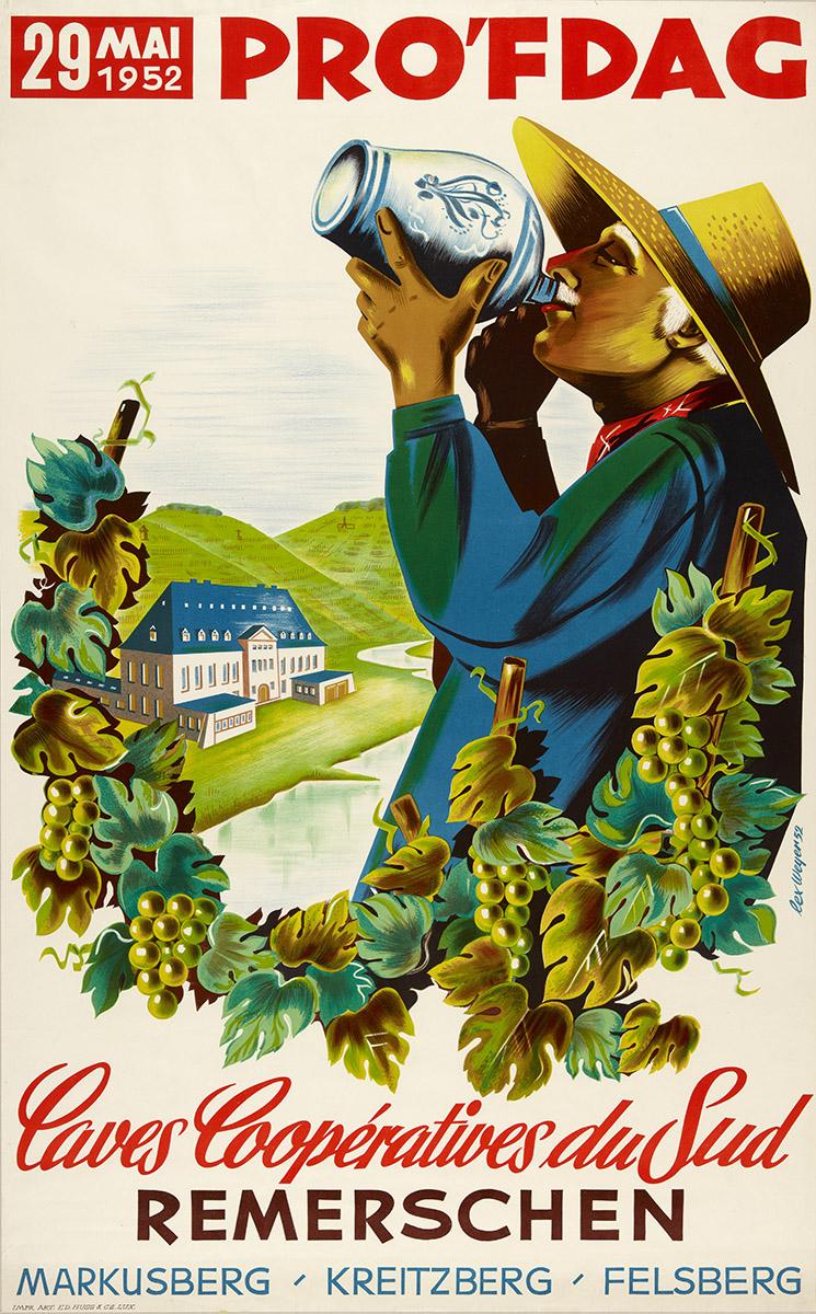 Affiche Retro 1952 Wäinprouf Remerschen - Luxembourg / graphiste Lex Weyer senior