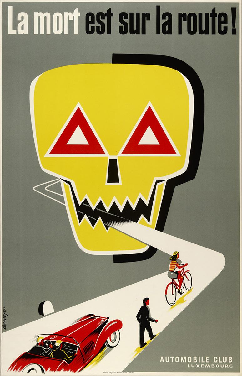 Affiche pour la Sécurité routière Luxembourg 1955 par Lex Weyer senior
