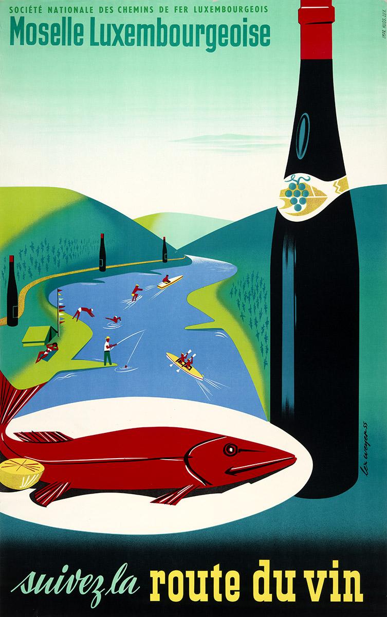 Affiche par Lex Weyer senior, pour la société nationale des chemins de fer Luxembourg, 1955