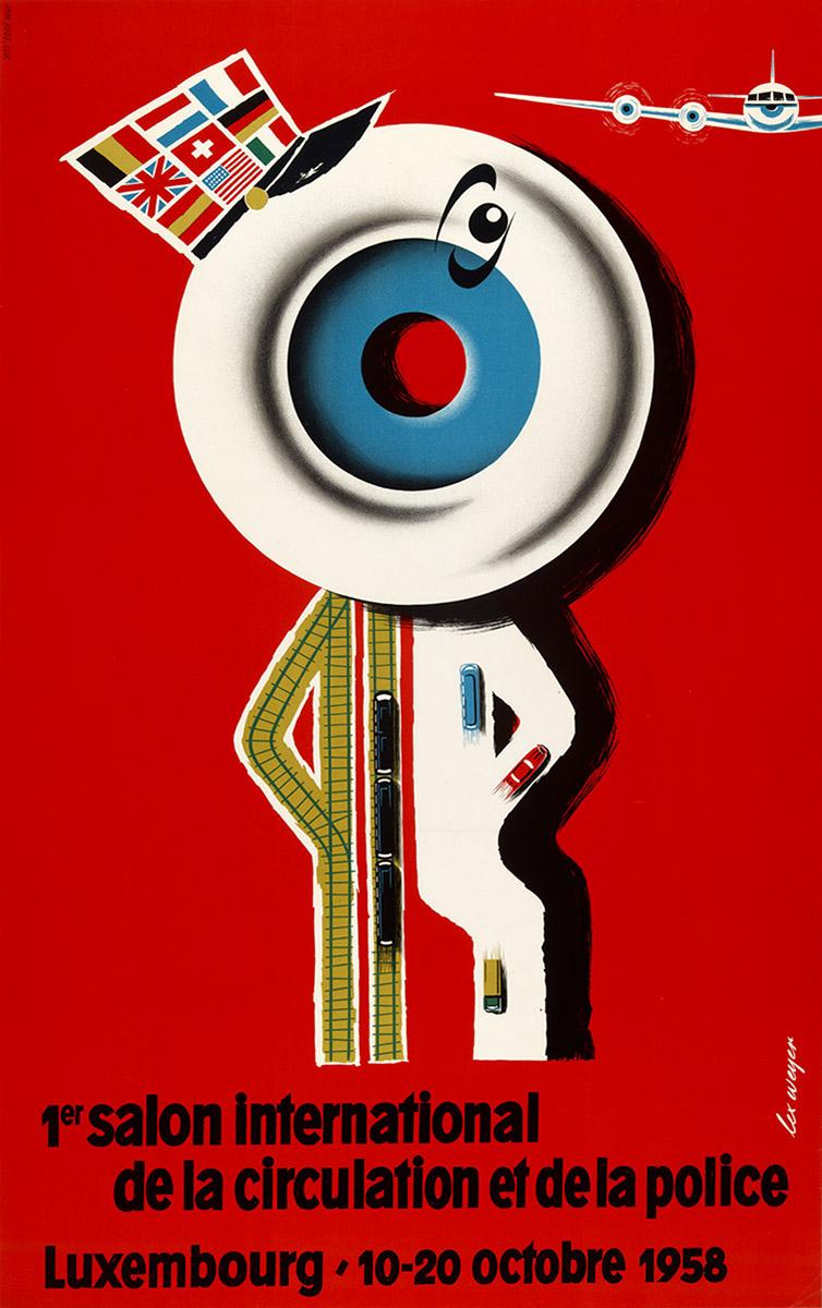 Affiche Salon international de la sécurité routière et de la police 1958 Luxembourg graphiste Lex Weyer senior