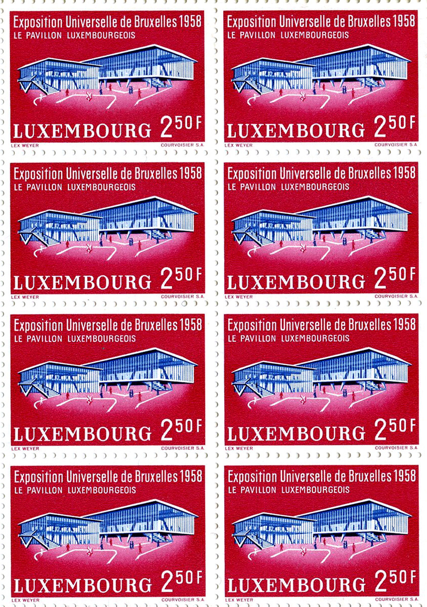Timbre poste - postal stamp - Philathelie 1958 Exposition Universelle Bruxelles Pavillon Luxembourg Lex Weyer senior