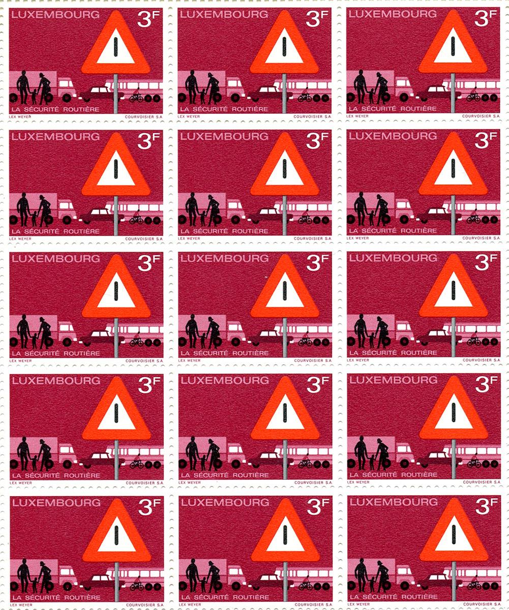 Timbre poste - postal Stamp - Briefmarke - Sécurité routière 1970 Luxembourg - graphiste Pit Weyer