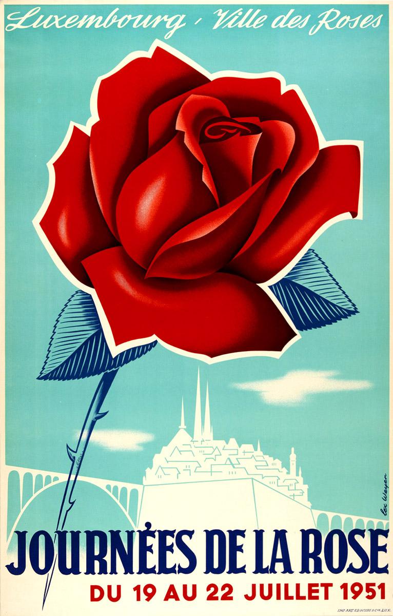 Affiche Ville des roses Luxembourg graphiste Lex Weyer senior 1951