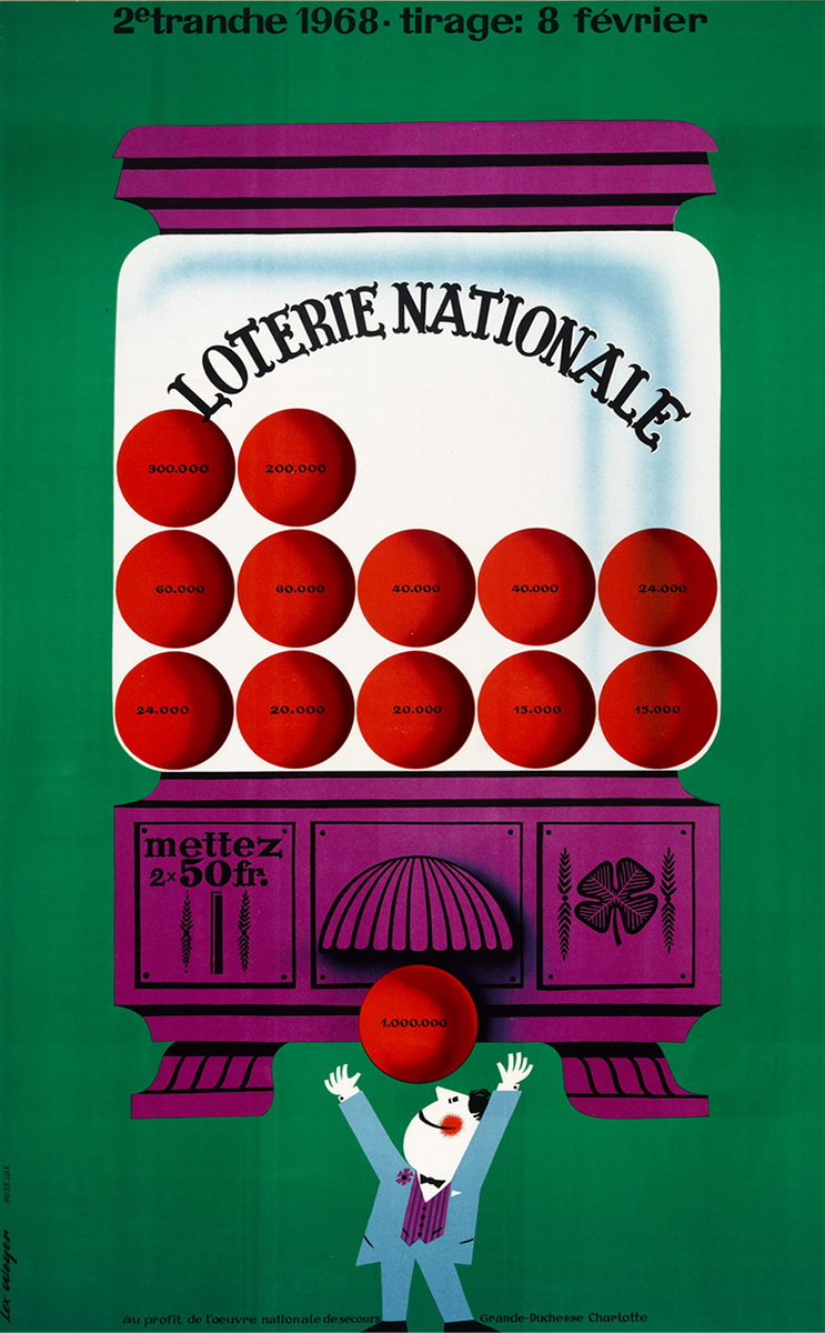Affiche Loterie Nationale 1968 Lex Weyer