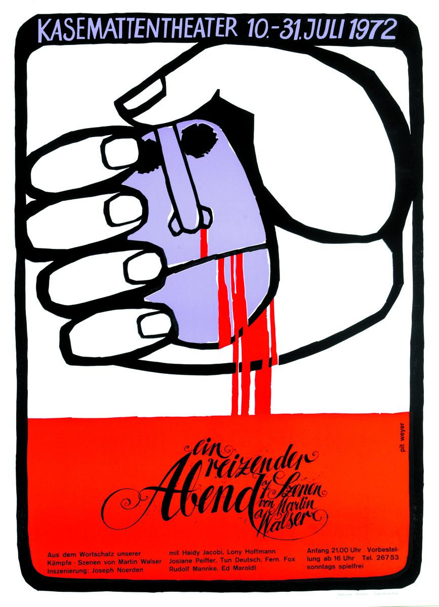 Affiche Plakat Ein reizender Abend von Martin Walser 1972 Kasemattentheater théâtre des casemates - Pit Weyer