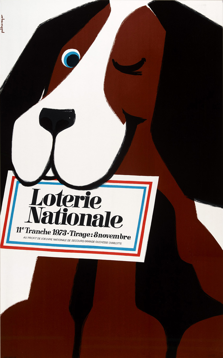 Affiche Plakat Loterie Nationale de Luxembourg Pit Weyer 1973