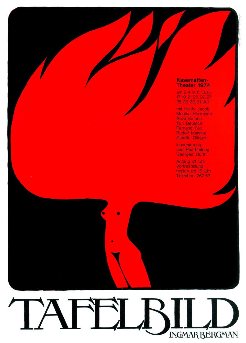 Affiche Plakat Tafelbild von Ingmar Bergman 1974 Kasemattentheater théâtre des casemates - Pit Weyer