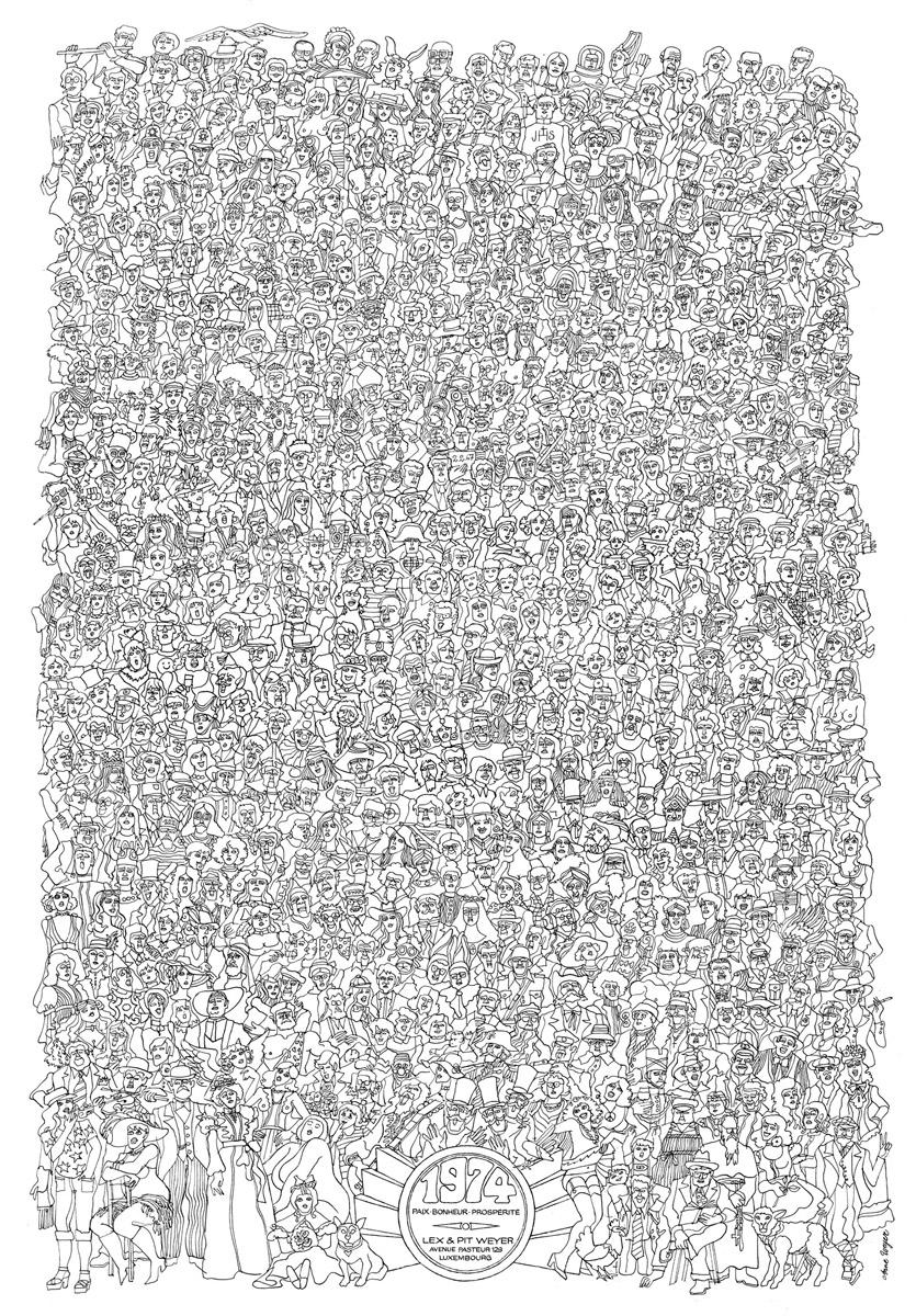 Affiche Bonne Année Neujahrsplakat 1974 Lex & Pit Weyer Illustration Anne Weyer