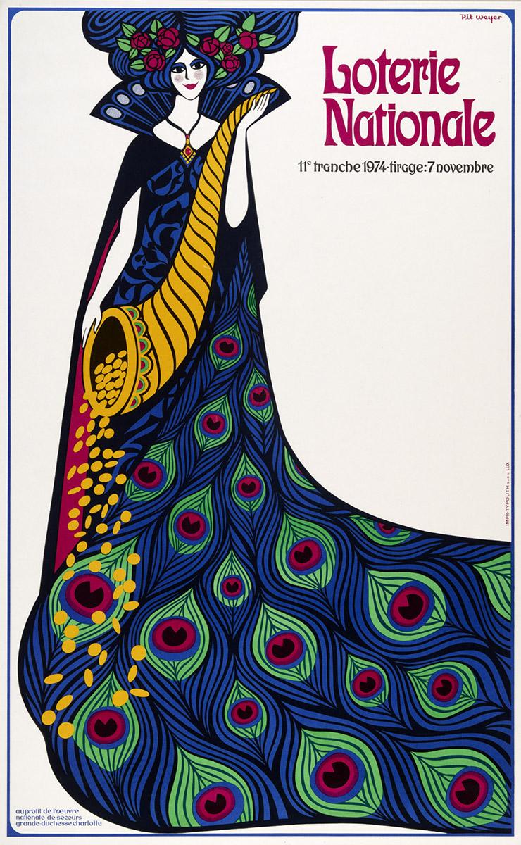 Affiche Plakat Loterie Nationale de Luxembourg Anne Weyer 1974