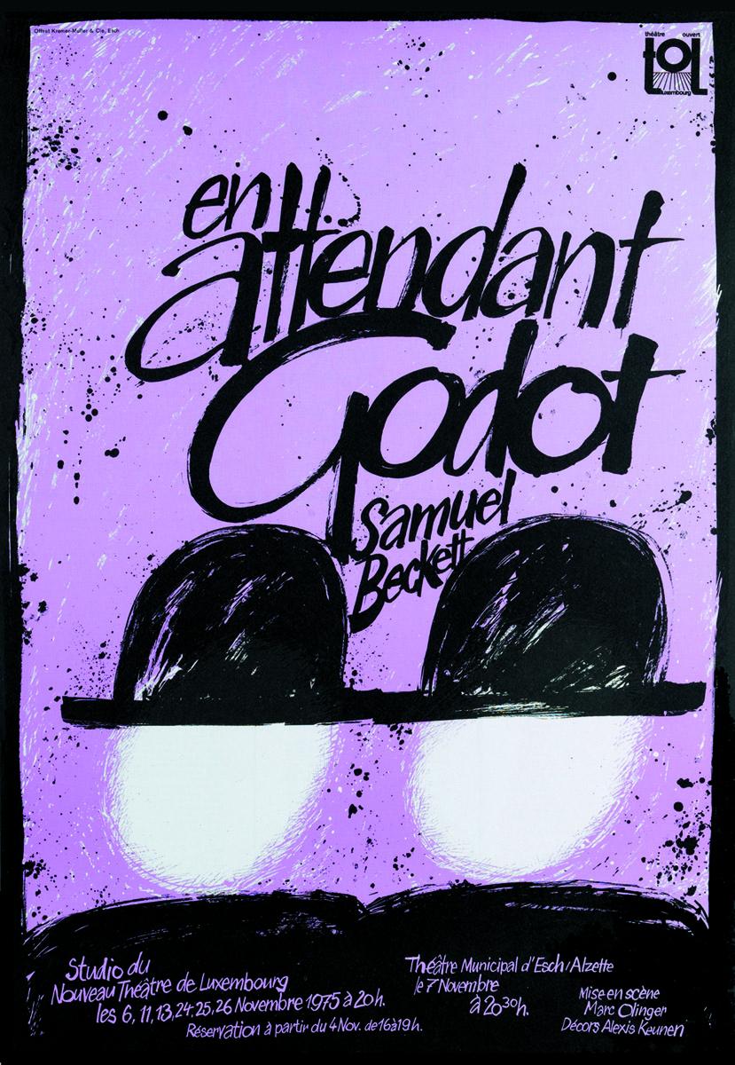 Plakat En attendant Godot de Samuel Beckett 1975 TOL Théâtre Ouvert Luxembourg - Pit Weyer