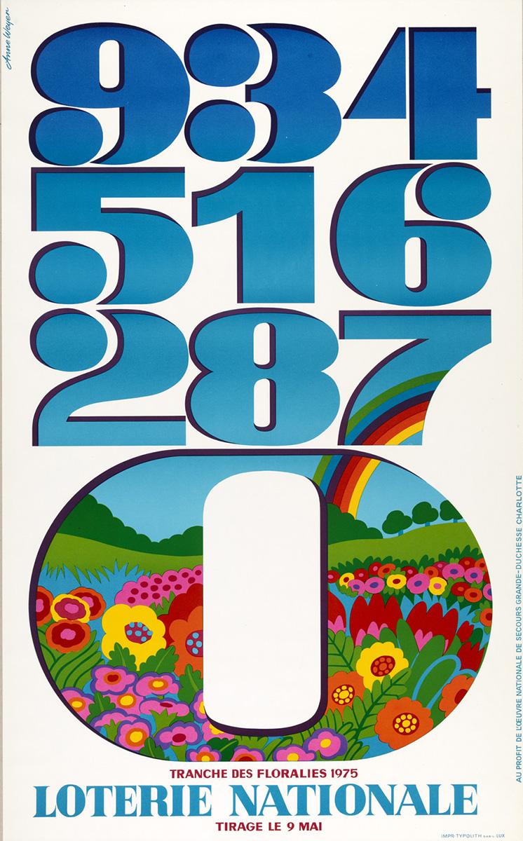 Affiche Plakat Loterie Nationale de Luxembourg Anne Weyer 1975